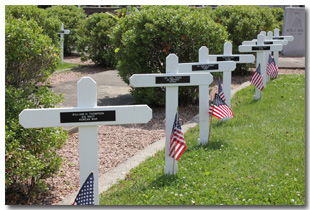 The Lion's Club of Troy Places Crosses of Servicemen that Have Passed Away in Tri-Township Park in Troy IL